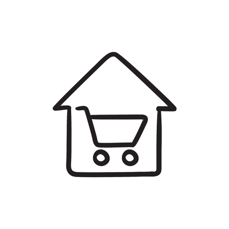 House shopping sketch icon.