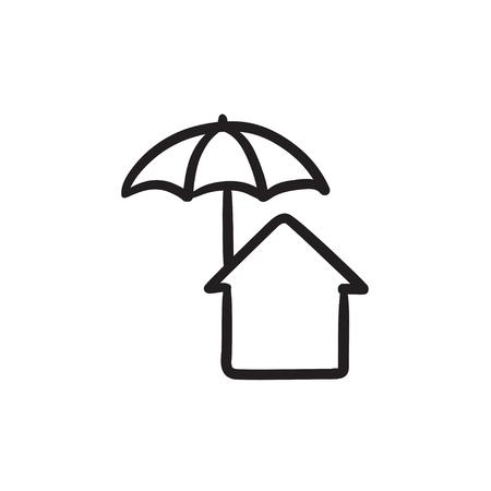 Huis onder paraplu schets pictogram.