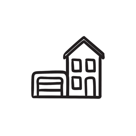 House with garage sketch icon.