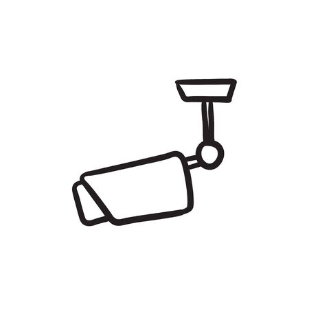 Outdoor bewakingscamera schets pictogram.