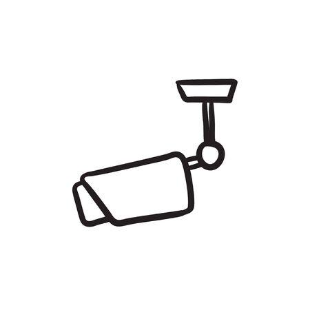 Outdoor surveillance camera sketch icon.