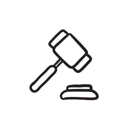 Auction gavel sketch icon. Ilustração