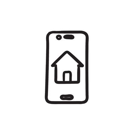 Property search on mobile device sketch icon. Ilustrace