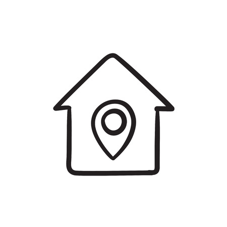 House with pointer sketch icon.