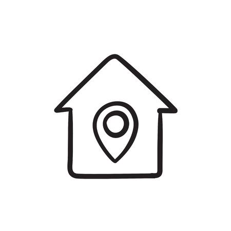 Huis met aanwijzer schets pictogram.