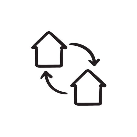 House exchange sketch icon.