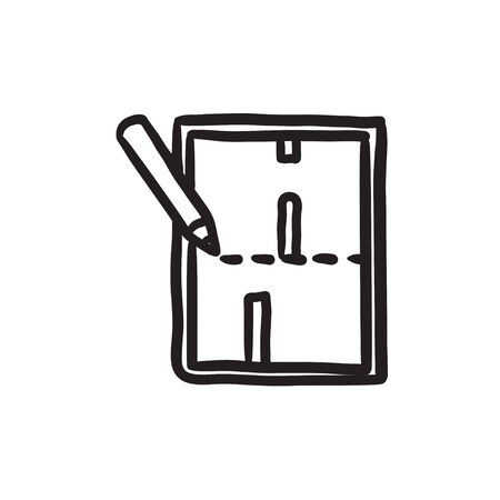 Layout of the house sketch icon. Ilustracja
