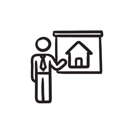 Real estate agent showing house sketch icon.