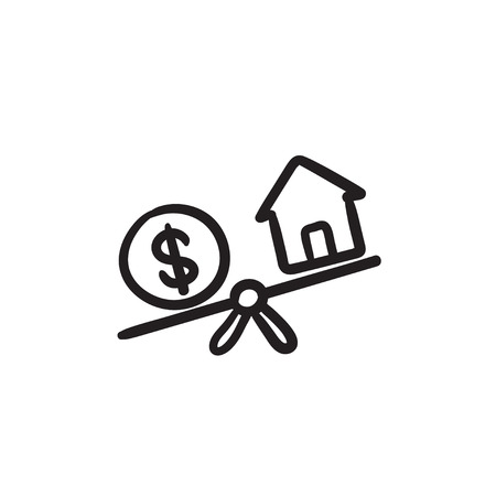 House and dollar symbol on scales sketch icon. Illustration