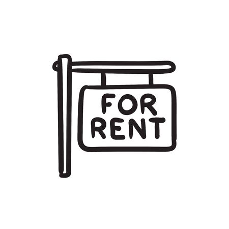 For rent placard sketch icon. Illusztráció