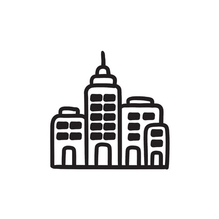 Residential buildings sketch icon.