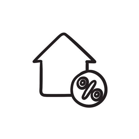 House with discount tag sketch icon.