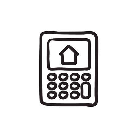 電卓表示スケッチ アイコンの家。