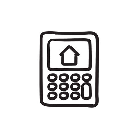 Calculator with house on display sketch icon.
