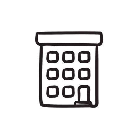 condominium: Condominium building sketch icon.