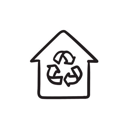 House with recycling symbol sketch icon.
