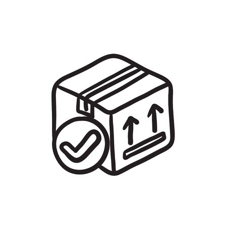 Carton package box sketch icon. Ilustracja