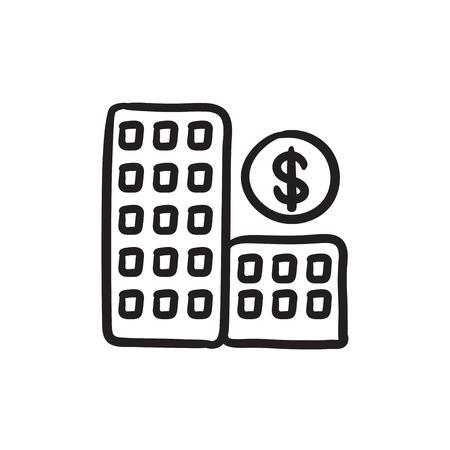condominium: Condominium with dollar symbol sketch icon. Illustration