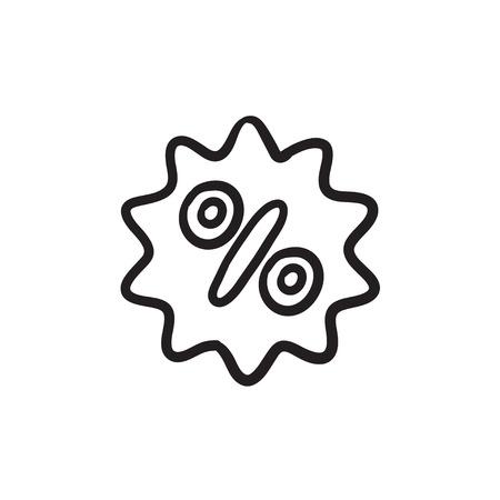 Discount tag sketch icon.
