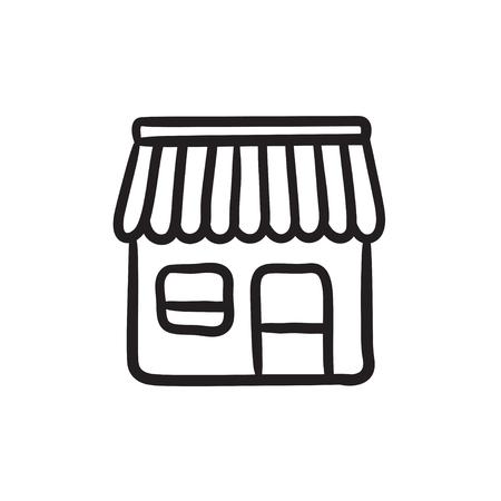 Shop sketch icon.