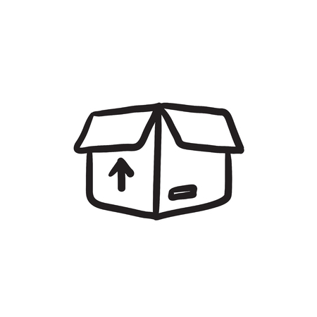 Carton package box sketch icon.