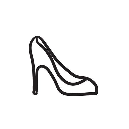 Heel shoe sketch icon.