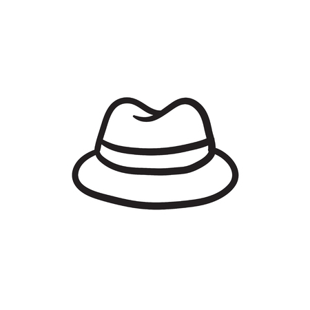 Classic hat sketch icon.