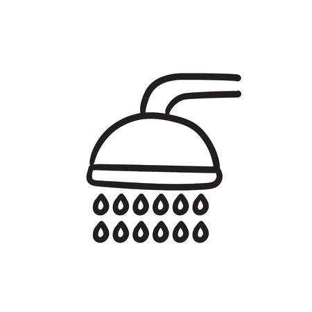 シャワー スケッチ アイコン。