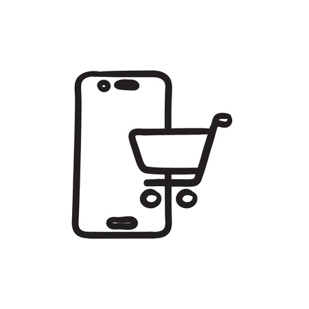 electronic commerce: Online shopping sketch icon.