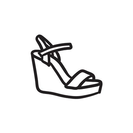 sandalia: Women platform sandal sketch icon.