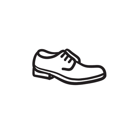 Shoe with shoelaces sketch icon.