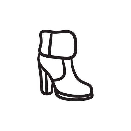High-heeled ankle boot with fur sketch icon. Illustration