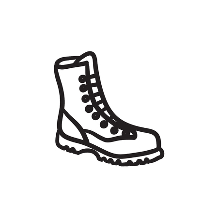 Boot with laces sketch icon.