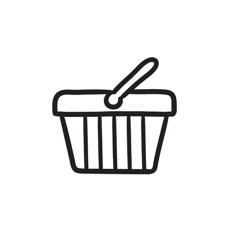 Shopping basket sketch icon.