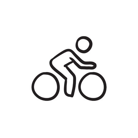 Man riding  bike sketch icon.
