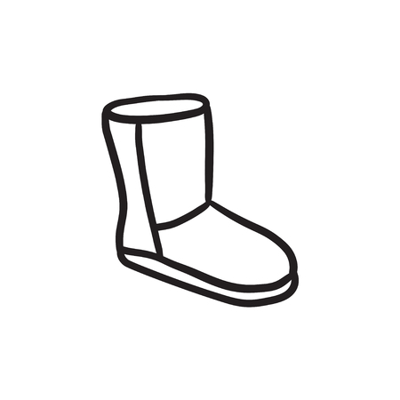 Fuzzy winter boot sketch icon.