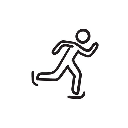 Speed skating sketch icon.