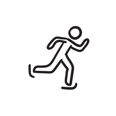 speed: Speed skating sketch icon.