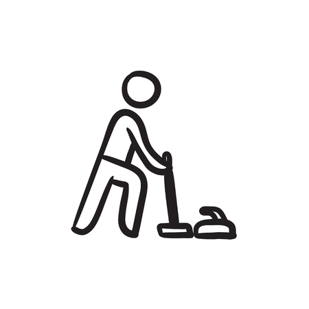 Curling sketch icon.