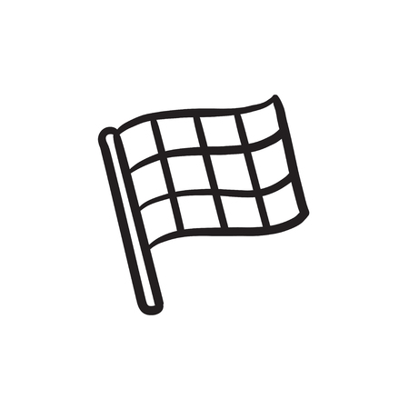 Checkered flag sketch icon.