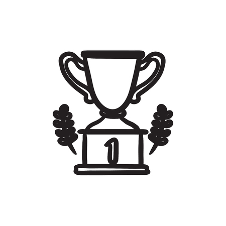 Trophy sketch icon.