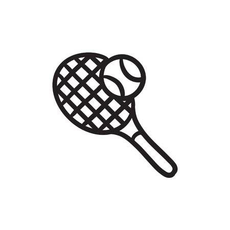 Tennis racket and ball sketch icon.