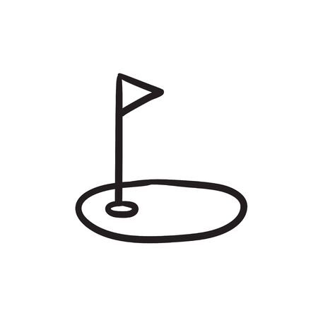 Golf hole with flag sketch icon. Иллюстрация