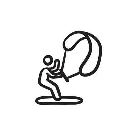 Kite surfing sketch icon.