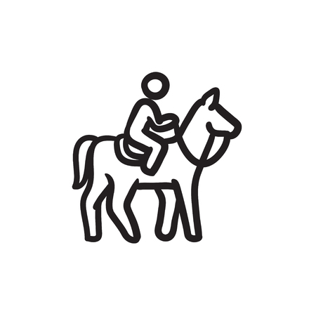 stirrup: Horse riding sketch icon.