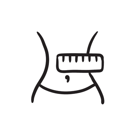 Waist with measuring tape sketch icon. 向量圖像