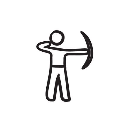 Archer training with bow sketch icon.