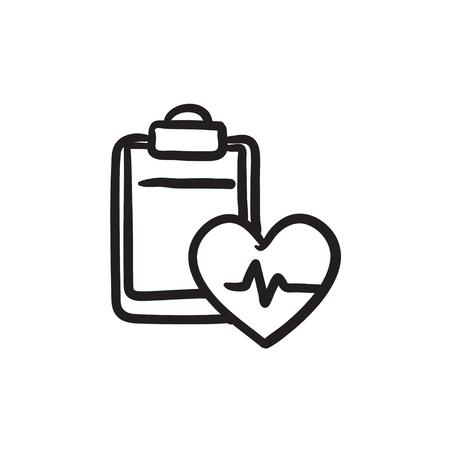 estimation: Heartbeat record sketch icon.