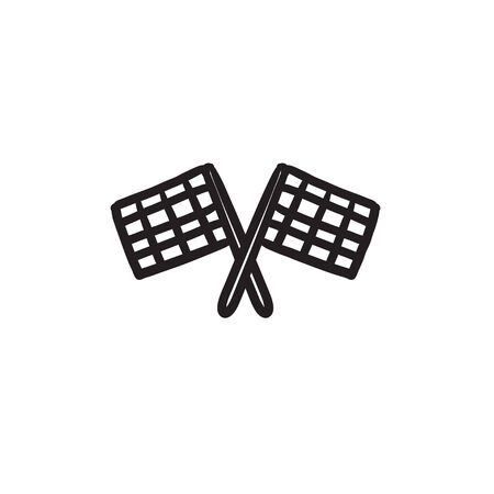 two crossed checkered flags: Two checkered flags sketch icon.