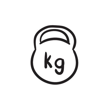 Kettlebell sketch icon.